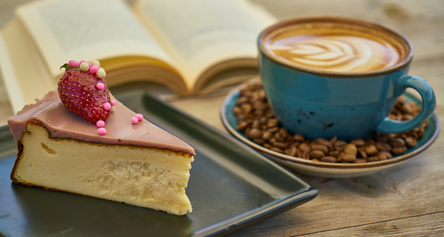 cake and a cup of coffee